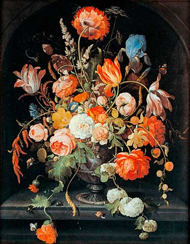 "Abraham Mignon (1640 – 1679) ""Flower still life with insects and two snails"""