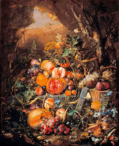 "Jan Davidsz de Heem (1606 – 1683) ""Still life with fruit, flowers, mushrooms, insects, snails and reptiles"""